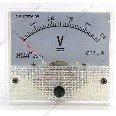 1 × DC 500V Analog Panel Volt Voltage Meter Voltmeter Gauge 85C1 White 0-500V DC