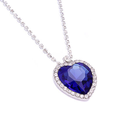 Women Titanic Blue Heart of Ocean Crystal Diamante Necklace Pendant For Women