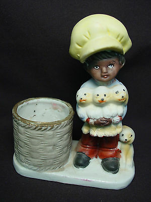 Vtg Tawny Tots Candle Holder Votive Boy Child Puppy Dog Old Bisque Porcelain '78