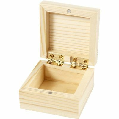 Natural Wooden Pine Jewellery Storage Decorate Magnet Wood 6cm Small Trinket Box