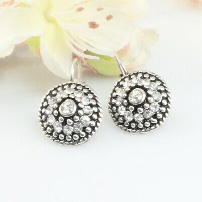 Vintage Bridal Silver Filled With Crystals Drop Earrings