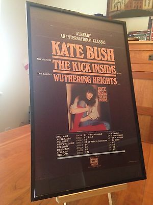 Big 11X17 Framed Kate Bush The Kick Inside Lp Cd + Wuthering Heights 45 Promo Ad