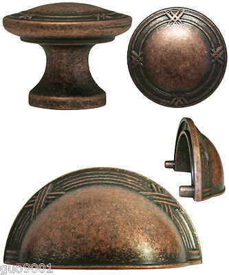 """Antique Copper  Ribbon & Reed Kitchen Cabinet Drawer Knobs and Pulls  3"""""""