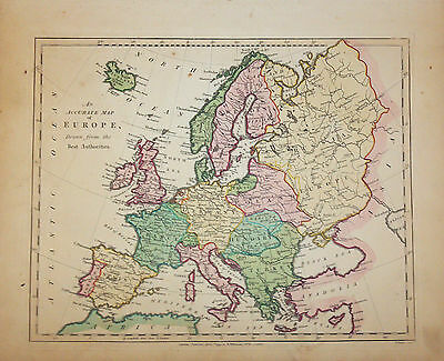 1794 Wilkinson Map An Accurate Map of Europe Spain France Germany Italy Russia