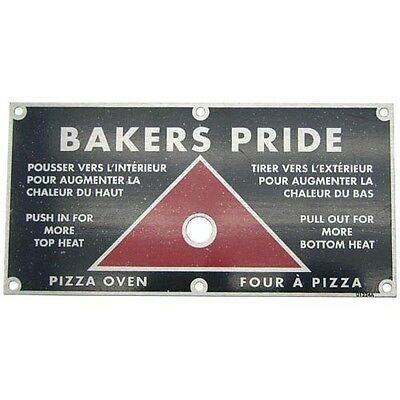 """PLATE INSTRUCTION 6"""" X 3"""" 2-7/8"""" X 2-3/4"""" CTRS for Bakers Pride U1224A 221474"""
