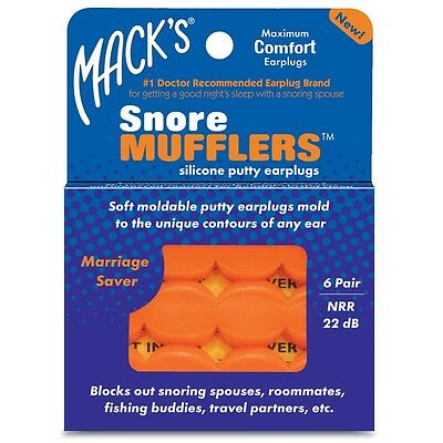 MACKS Snore Mufflers Mouldable Silicone Putty Earplugs 6 Pairs Get Better Sleep