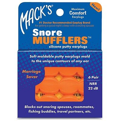 MACKS Snore Mufflers Mouldable Silicone Putty Earplugs Get Better Sleep 6 Pairs