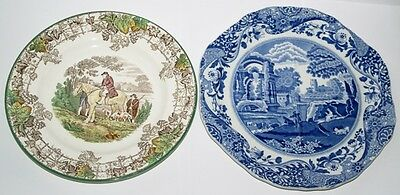Britsih - SPODE Copeland - 2 Great Plates - Coloured Hunting - BLue Italian