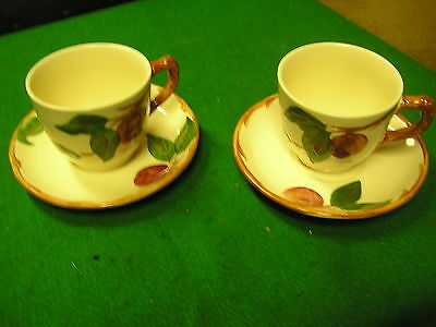 -Magnicent Set of 2  FRANCISCAN Cups and Saucers-Apple Pattern