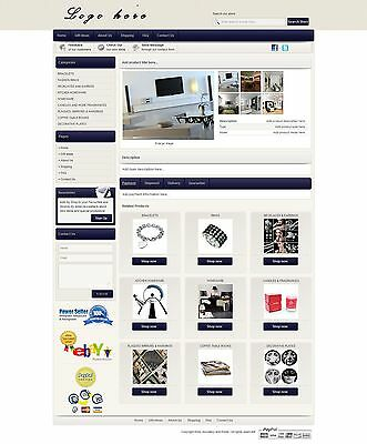 eBay HTML Auction Listing Custom Template Design dark blue ebay store design