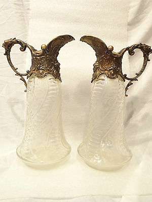 Victorian Hawks cut Crystal God Motif Wine Jug Pitcher Ewer Rare Ornate Pair