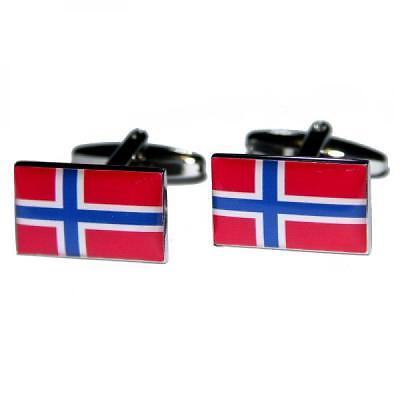 Norway Flag Cufflinks Norwegian Cruise Formal Wedding Party Present Gift Box