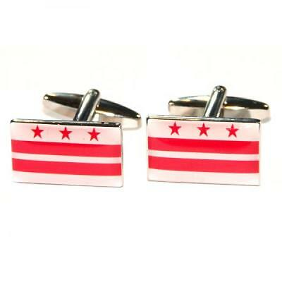 District of Columbia State Flag Washington DC USA Cufflinks Present Gift Box