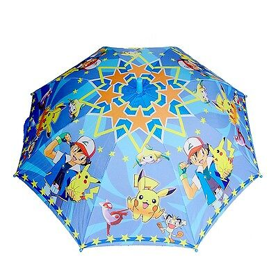 New Kids Boys Girls Rain-Proof Umbrella Raincoat Parasol Pokemon Go Pikachu Game
