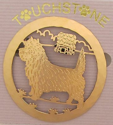 Cairn Terrier Jewelry Gold Locking Back Pin by Touchstone