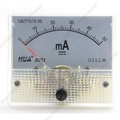 1×DC 50mA Analog Panel AMP Current Meter Ammeter Gauge 85C1 White 0-50mA DC
