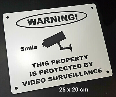 Engraved Video Surveillance Warning Sign - Smile