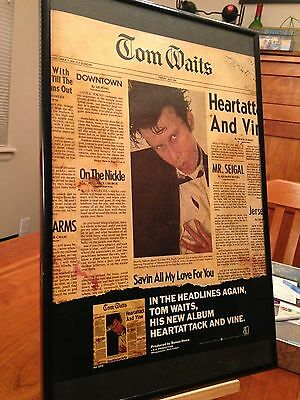 "1 BIG 11X17 ORIGINAL FRAMED TOM WAITS LP ALBUM CD ""PROMO AD"" - choose from 3!"