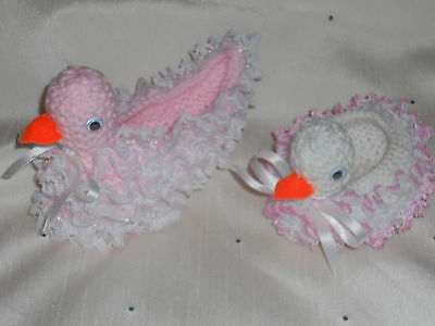 KNITTING IN LACE DUCK SOAP OR TRINKET HOLDERS
