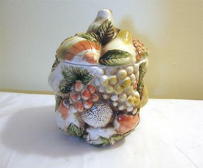 Vintage Lefton Fruits of Italy Cookie Biscuit Jar With Lid Excellent Condition