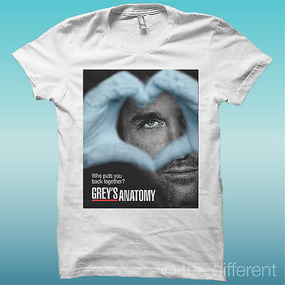 """T-Shirt """" Grey's Anatomy Heart """" Bianco The Happiness Is Have My T-Shirt New"""