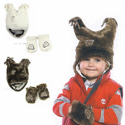 Baby Fur Fleece Trapper Hat / Mitts Mittens SET Warm Winter Infant Boy Girl Cute