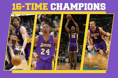 BASKETBALL POSTER Lakers 16 Times Champions Kobe Bryant RARE HOT NEW 24x36