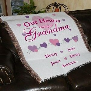 Personalized Tapestry Throw Blanket for Grandma or Mom Our Hearts Belong To ?