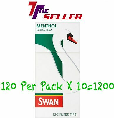 Swan Menthol Extra Slim Filter Tips 10X120= 1200 Briatin's Favourite Filter (10)
