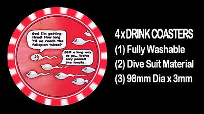 4  x NAUGHTY HUMOROUS RUDE FUNNY RISQUE BLOW ME COMIC ORAL SEX DRINK COASTERS