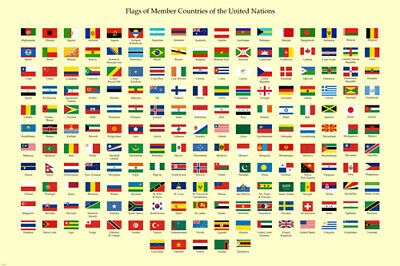 national and commercial FLAGS OF ALL NATIONS ad poster HISTORIC 24X36 rare