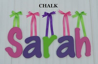 "Wooden Wall Letters 8"" size Painted Wood Children Baby Nursery Name Decor Chalk"
