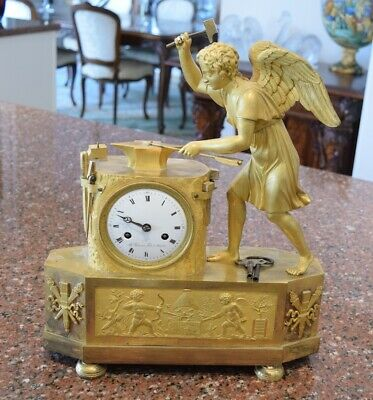 Unique Exquisite Circa 1800 Gilt Bronze French Angel Arrow Maker Clock