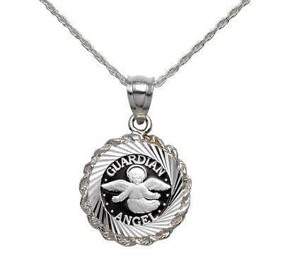 """.999 Pure Silver Guardian Angel Coin In S/s Dia.-Cut Bezel + 18"""" S/s Rope Chain"""