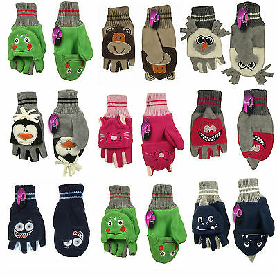 Kids Childrens Gloves Fleece Mitts Fold Back Top Boys Girls Warm Animal Mittens