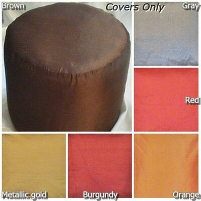 ottoman foot stool COVER round pouf faux silk floor cushion furniture one