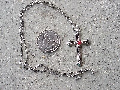 Wholesale Lot of 9 Detailed Steel Cross Necklaces with Faux Ruby - Mexico