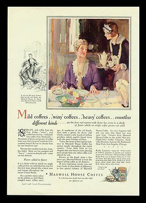 """Maxwell House Coffee """"countless Different Kinds"""" 1928 Print Ad"""