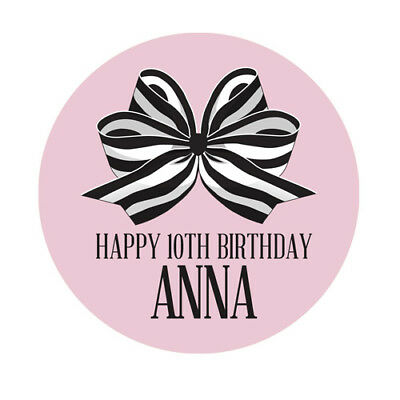PERSONALISED Birthday Bow Sticker Seals Labels | 4 Sizes