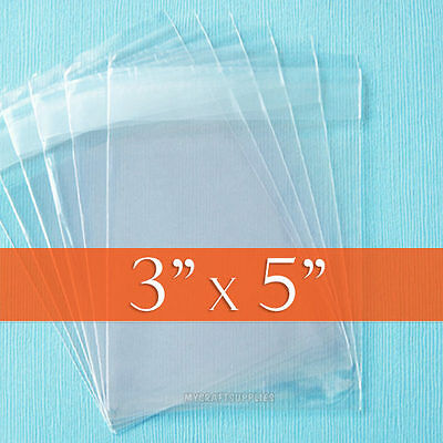 "300- 3 x 5 Cello Bags, 3x5 inches Peel & Stick Adhesive 3"" x 5"" Clear Package"
