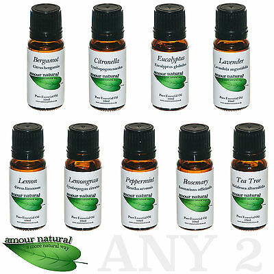 2 x 10ml Pure Natural Essential Oils for Aromatherapy Diffuser Fragrance Massage