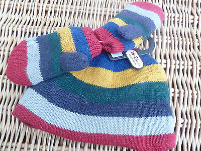 F & F Stripe Wool Mix Fleece Lined Hat And Mittens Set 2 4 Year 18 24 Months
