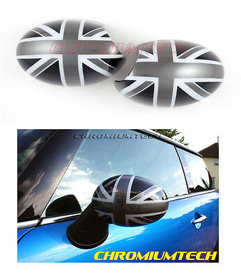 BLACK UNION JACK Wing MIRROR CAP COVER for MK1 BMW MINI Cooper/ONE/S RHD Models