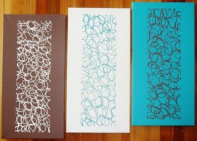 ORIGINAL ABSTRACT CANVAS PAINTINGS x 3 TURQUOISE CREAM BROWN DEE'S FUNKY ART