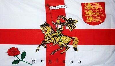 "ENGLAND ST GEORGE CHARGER FLAG 18"" X 12"" boats treehouses ENGLISH ROSE SHIELD"