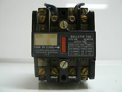 Allen-Bradley Bulletin 700 Type Nm Ac Relay Latch Type Nema A300 120V 60Hz