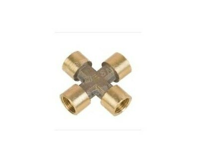 """1pcs 4 ways 1/4"""" BSP Cross Female Connection Pipe Brass Coupler Adapter"""