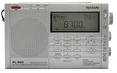 TECSUN PL660 PLL FM/Stereo MW LW SW SSB AIR Band    SILVER COLOR    PL-660 Radio