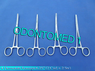 """Hemostats / Locking Forceps 6""""- 2 Curved 2 Straight - Stainless Steel New"""