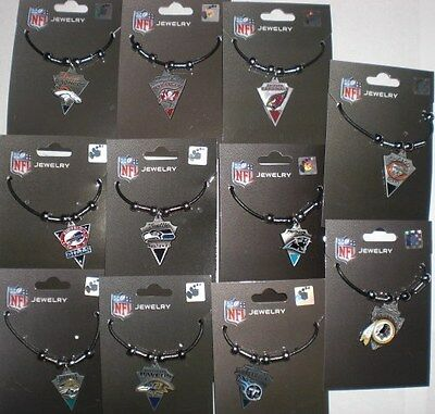 NFL Team Logo Leather Cord Pewter Pendent Necklace - PICK YOUR TEAM!